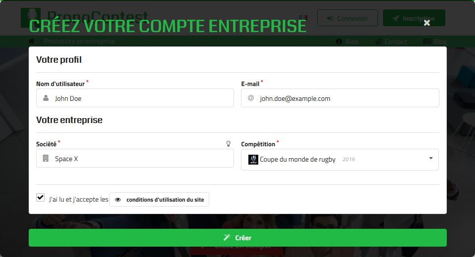 Création d'un compte entreprise sur PronoContest